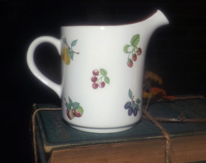 Vintage (1980s) Wade England Summer Fruit Burgundy creamer or milk jug. Fruit sprays | scattered fruit, burgundy trim