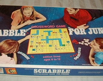 Vintage (1968) Scrabble for Juniors board game.  Published by Selchow & Righters.  Complete.