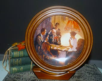 Vintage (1983) Knowles framed, collectible, limited-edition numbered J7025 Rockwell plate. This is the Room That Light Made.