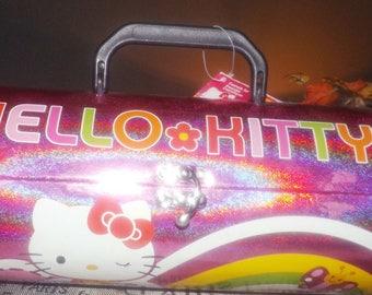 Vintage (1997) Sanrio Hello Kitty pink glitter telescopic-shape cosmetic   make up box. Clasp closure, top handle. Original tags.