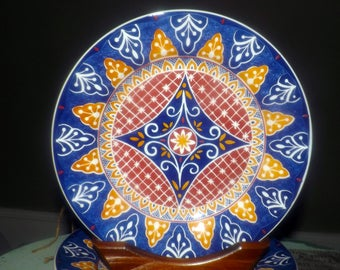 Vintage Pier 1 Vizcaya large dinner plate. Aztec multicolored leaves, geometrics made in Italy. Sold individually.