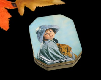 Vintage (1930s) Harry Vincent Bluebird Confectionery tin. Little girl in rain hat with dog. Made in England.