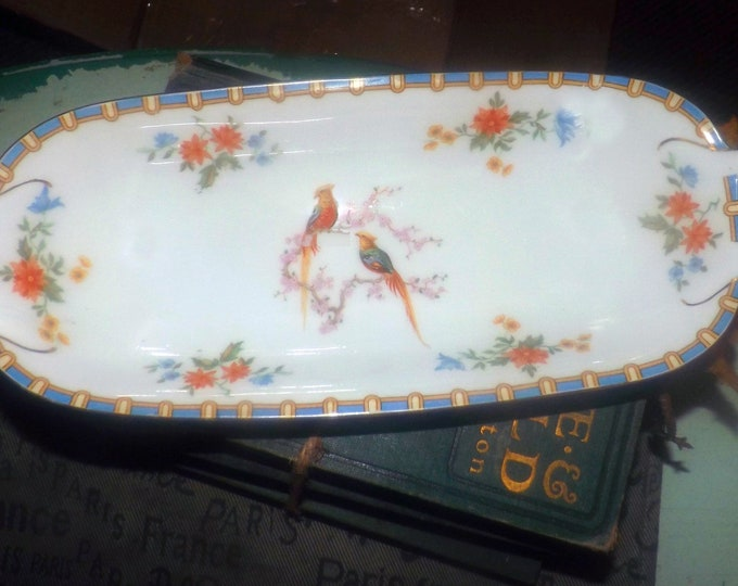 Almost antique (1920s) MZ Altrohlau | Moritz Zdekauer Victoria lugged cranberry or relish tray. Bird of Paradise | pheasant art-deco band.