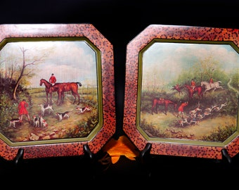 Pair of square decorative hunt scene wall or cabinet plates. English riders, horses dogs. Animal-print border.