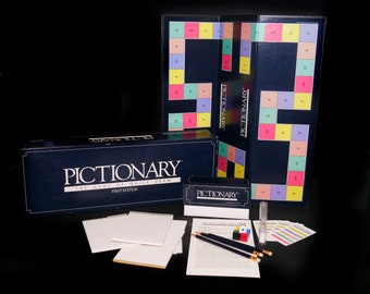 Vintage (1985) Pictionary first-edition board game made in the USA and published by Western Publishing. Complete.
