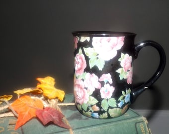 Vintage (1980s) Otagiri Japan Floral Garden mug. Black floral chintz, gold edge. Pink, blue florals. Tavistock Collection.