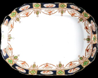 Antique (1910s) Thomas Hughes & Son | T. Hughes Imperial Derby oval vegetable platter. Cobalt and gold Imari pattern.