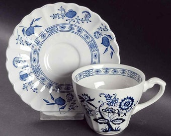 Vintage (1960s) J&G Meakin | Meakin Blue Nordic | Blue Onion blue-and-white, Delft-inspired tea set (flat cup with saucer).