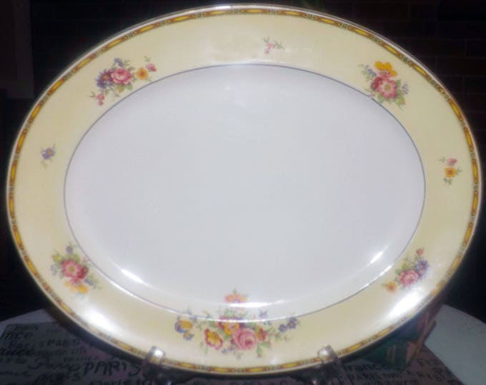 Almost antique (1920s) Johnson Brothers Lorraine hand-painted meat   turkey platter. Black, gold art-nouveau border, flowers, yellow band.