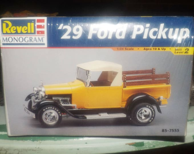 Vintage (1998) Revell Monogram '29 Ford Pickup truck model kit.  NEW in original factory-sealed package. Made in USA.