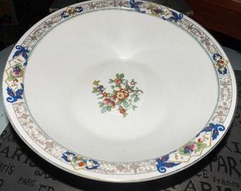 Antique (1913-1918) Johnson Brothers rimmed vegetable | serving bowl. Cobalt swags, fruit, art-nouveau florals, floral center.