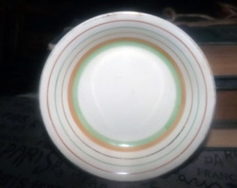 Quite vintage (1930s) Royal Falcon Ware  JH Weatherby fruit nappie, dessert or berry bowl.  Coral, green stripes.