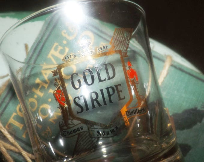 Vintage (1970s) Canadian Gold Stripe whisky glass.  Etched-glass logo and text. Thomas Adams Distillery.