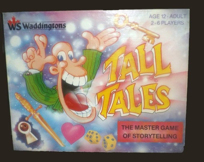 Vintage (1988) high-quality Waddingtons Tall Tales Storytelling board game. Complete. Wooden playing pieces.