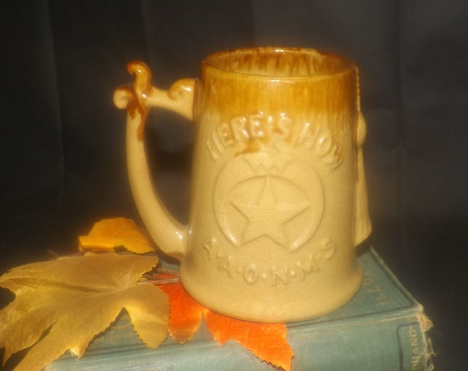 Antique (1890-1909) Hamilton Potters ceramic AAONMS Here's How ceramic stein | mug. Masons | Masonic Lodge | Shriners. Yelloware. Man gift.
