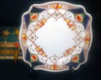 Early mid-century (late 1940s) AJ Wilkinson | Royal Staffordshire Stafford 5625 hand-painted, square Imari dinner plate. Flaws (see below).