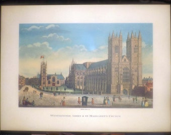 Vintage (1980s) plaqued print on board of an original lithograph of 1793 of Westminster Abbey and St Margaret's Church Robert Havell.