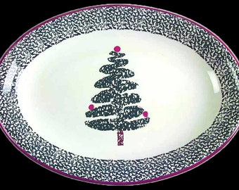Vintage (1980s) Furio FUO5 pattern hand-painted large turkey or meat platter.  Sponged Christmas tree in center, sponged band, red edge.