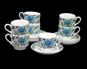 Retro vintage (1970s) Midwinter Spanish Garden cup and saucer set made in England. Jessie Tait design. Sets sold individually.