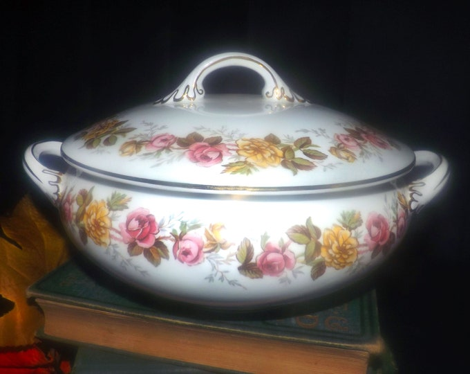 Vintage (1930s) Coalport Rosalinda covered vegetable serving bowl made in England. Pink and yellow roses, gold edge.