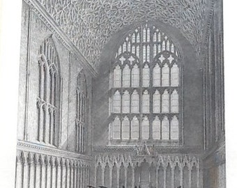 Antique (1835) line engraving of the Chapter House of Canterbury Cathedral based on Wm Deeble's original for Benjamin Winkles.