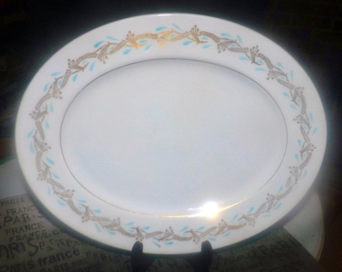 Mid-century (1950s) Myott Fanfare hand-decorated oval vegetable platter.  Teal and gold leaves on white, gold edge. China-Lyke ironstone.