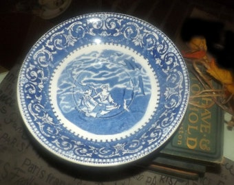 Early mid-century (1940s) British Anchor Ye Olde Historical Pottery blue transferware large joke-cup saucer or gravy under plate. England.
