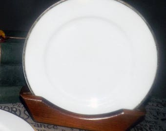 Vintage (early 1990s) Skye McGhie all-white with gold edge salad or side plate. Classic.