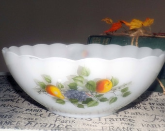Vintage (1970s) Arcopal France Fruits de France glass nesting | serving bowl. Colorful fruit imagery, white ground. Great for salad.