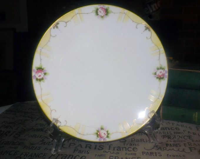 Antique (1910s) hand-painted Nippon art nouveau luncheon plate. Van Patten #10 mark. Pink flowers, embossed gold, yellow band, gold edge.