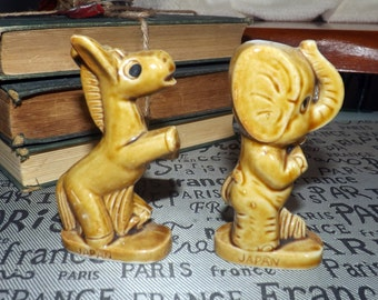 Vintage (1960s) Political animals of Republican Elephant and Democratic Donkey. Made in Japan.