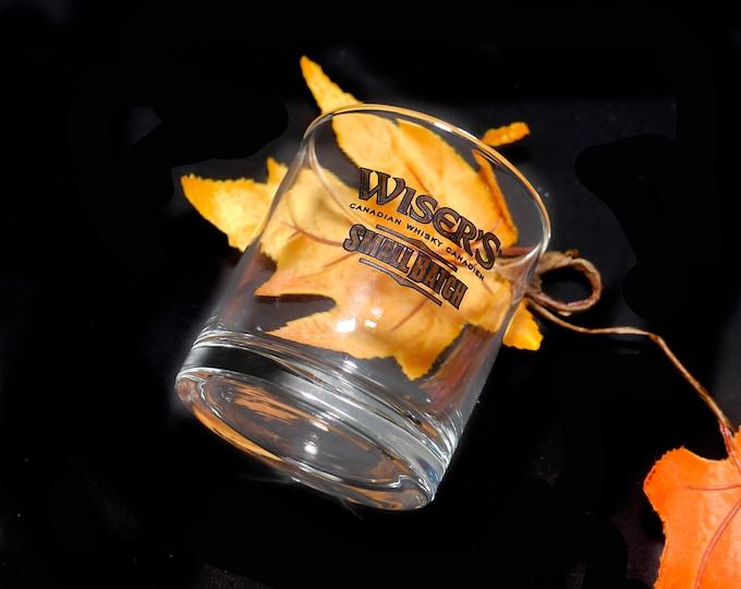 Vintage Wiser's Small Batch etched-glass lo ball   whisky   scotch glass. Sold individually.