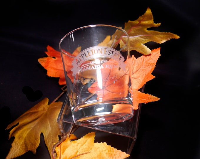 Vintage (mid 1990s) Appleton Estate The Exceptional Spirit double old-fashioned glass. Etched-glass artwork. Sold individually.