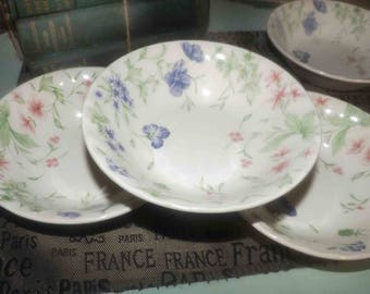 Vintage (early 1990s) Churchill China | Churchill cereal, soup, or salad bowl. Pink, purple florals, greenery. Made in England.