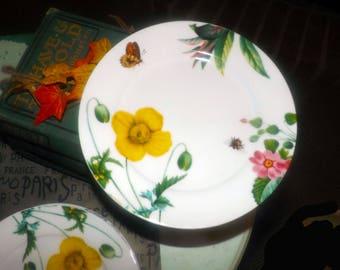 Royal Worcester Floral Haven pattern salad | side plate. Vivid florals, leaves and butterflies.