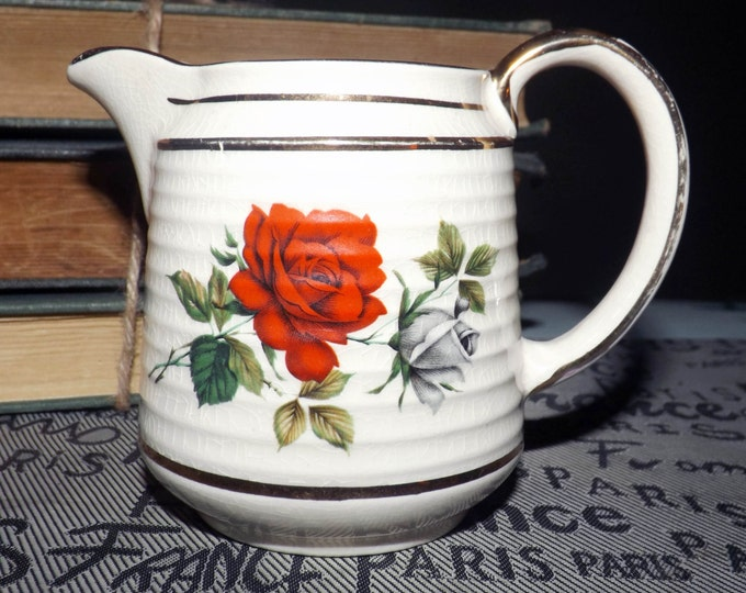 Early mid century (1940s) Sadler 3497 hand-painted creamer. Red, white-grey rose blooms, pops of greenery gold edge.