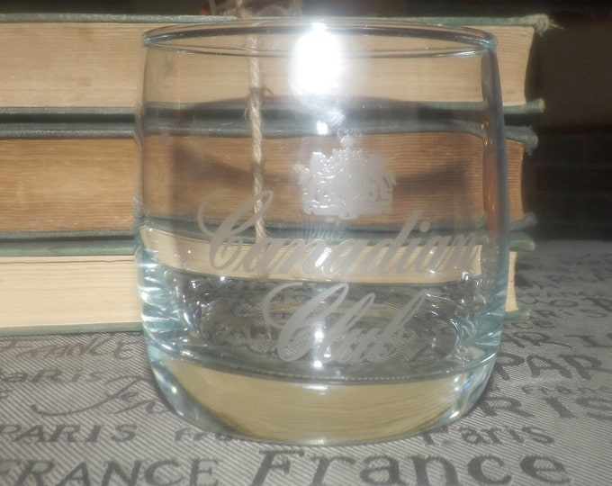 Vintage (1980s) Canadian Club Whisky round lo ball | on-the-rocks or whisky glass.  Etched-glass artwork, weighted base.