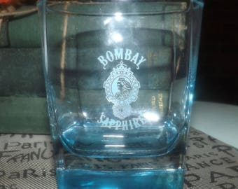 Vintage (1980s) Bombay Sapphire gin promotional lo-ball, whisky, old-fashioned, on-the-rocks glass.  Blue sapphire glass, etched art.