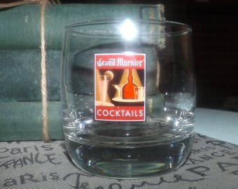 Vintage (mid 1990s) Grand Marnier on-the-rocks | whisky neat | cocktail glass.  Etched-glass logo, weighted base, commercial quality.