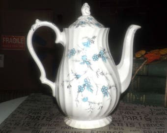 Early mid-century (late 1940s) Myott China Lyke Sound of Music pattern coffee pot with lid. Blue flowers, swirled body, gold accents.
