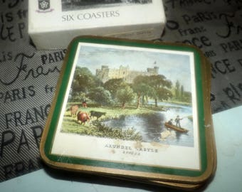 Vintage (1970s) Pimpernel England set of 6 boxed coasters. Full-color scenes of grounds about Arundel Castle. British Heritage Series.