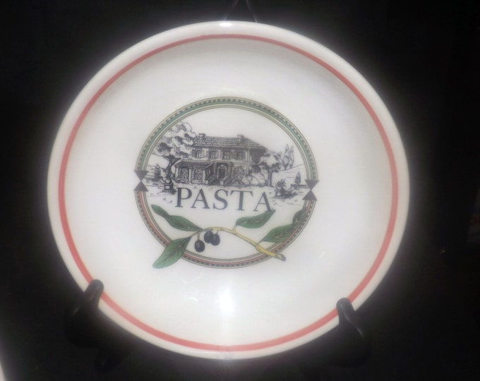 Vintage Himark HIM20 individual pasta bowl made in Italy. Central house and pasta wording, olive branches, red band about rim.