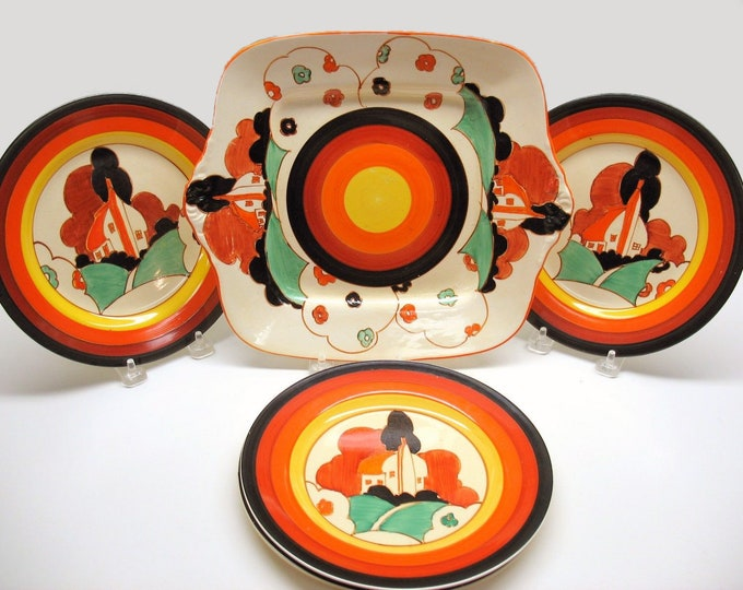 Featured listing image: Art deco (1930s) Clarice Cliff Fantasque Farmhouse hand-painted set. Lugged serving plate and 3 side plates. Bizarre Ware. Newport Pottery.