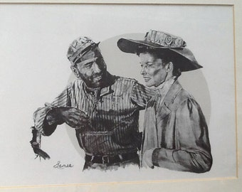 Vintage (1970s) professionally framed & matted lithograph by Glen Banse aka: Lanse of a Bogart | Hepburn scene from The African Queen.