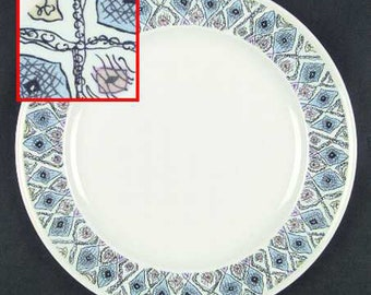 Vintage (1970s) Wedgwood Mosaic pattern large dinner plate. Geometric blue and black diamonds, pink, green accents.