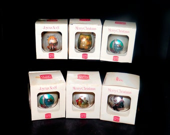Set of six boxed Burger King glass Christmas tree ornaments | baubles. Norman Rockwell Saturday Evening Post. New in box, unused.
