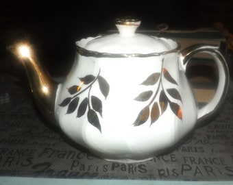 Vintage (1930s) JH&S | John Hamilton Sons | hand-decorated Boston teapot marked 0215/A. Gold leaves and spout, fluted body.