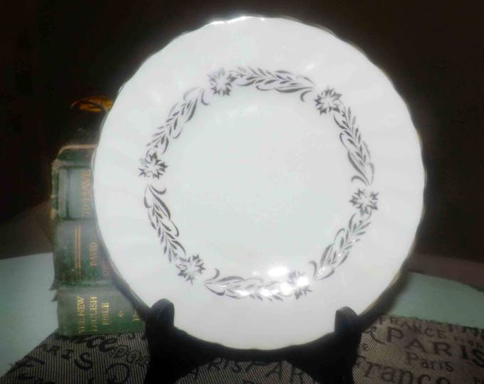 Vintage (1964) Royal Tuscan | Tuscan China Silver Heritage pattern bread-and-butter, dessert, or side plate. Silver florals and leaves.