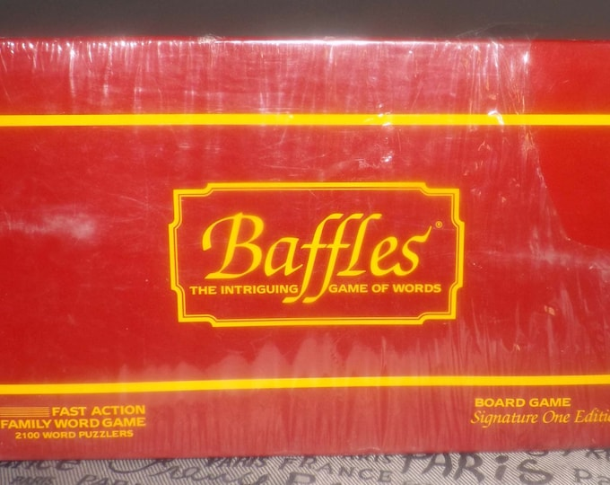 Vintage (1985) Baffles Word board game published by Chieftain Games. Unused in original shrink wrap. Complete.