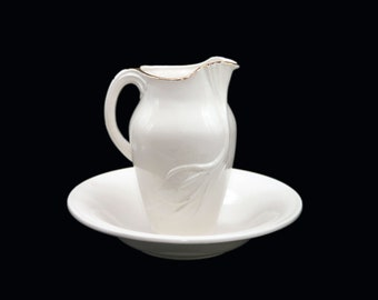 Vintage (1963) handmade Baptismal bowl and pitcher. All white, golden cross, high-relief lilies. Also makes a lovely washbasin set.